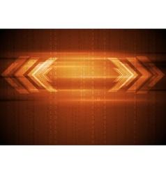 Orange hi-tech background with arrows vector image