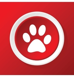 Paw icon on red vector