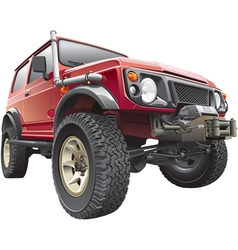 Red rally jeep vector