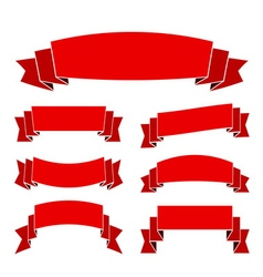 Red ribbon blank set banners old style vector