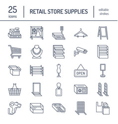 Retail store supplies line icons trade shop vector