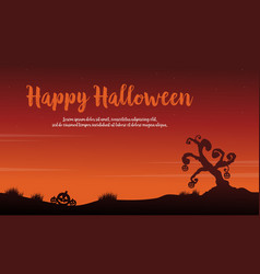 Scary landscape halloween of silhouettes vector