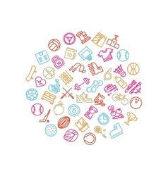 Sport tools line icons in circle design Trendy vector image vector image