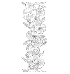 Vertical seamless floral border vector