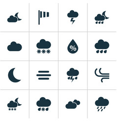 Weather icons set collection of night flash vector