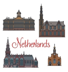 Dutch travel landmarks symbol thin line style vector
