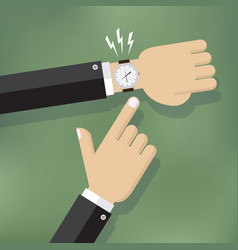 Hand pointing at watch vector