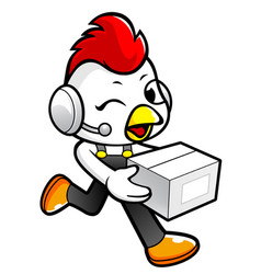 rooster character on running and holding a box vector image