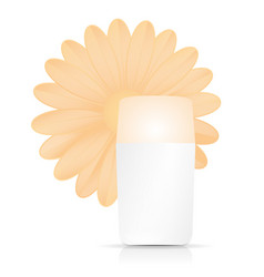 Bottle of cream with orange flower on white vector