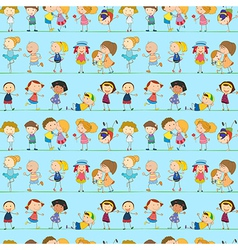 A seamless design with playful kids vector