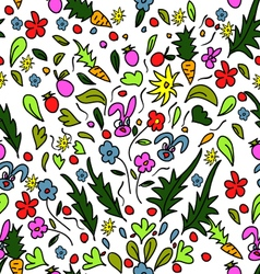 Seamless pattern colorful garden with rabbits and vector