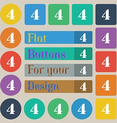 Number four icon sign set of twenty colored flat vector