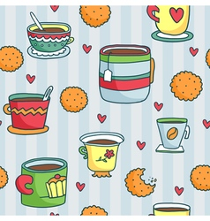 Seamless pattern with hand drawn cups cookies and vector image