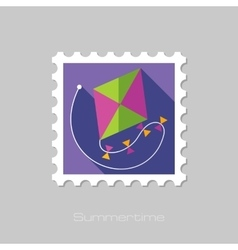 Kite flat stamp with long shadow vector