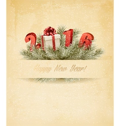 Holiday background with a gift box and 2016 vector image
