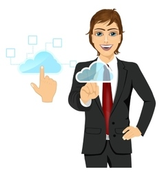 Businessman touching the cloud icon vector