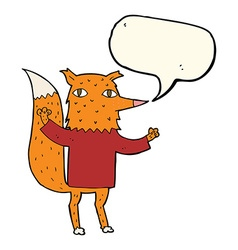 Cartoon fox with speech bubble vector