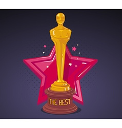 Yellow cinema award with red big star on vector