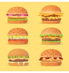 Burgers set ingredients buns cheese bacon vector