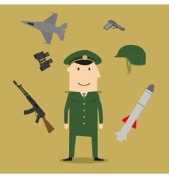 Army soldier and military objects vector