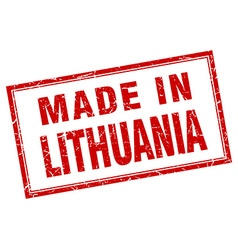 Lithuania red square grunge made in stamp vector