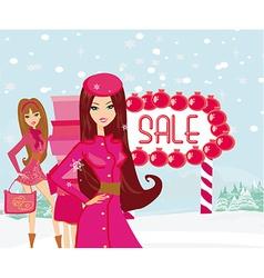 beautiful girls on winter shopping vector image