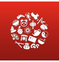 China icons in circle vector