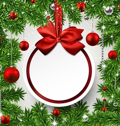 Christmas frame with fir branches and balls vector image vector image