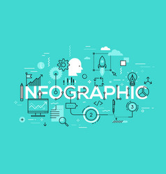 Creative infographic banner with elements in thin vector