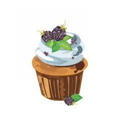 Cupcake with blackberry dessert vector image vector image