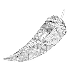 Decorative feather zentangle vector