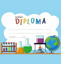Diploma template with science equipments vector