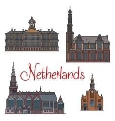 Dutch travel landmarks symbol thin line style vector