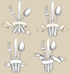 Fork knife spoon hand drawing sketch set cutlery vector