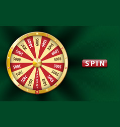 Gold realistic 3d fortune wheel lucky game spin vector