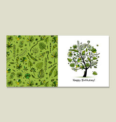 greeting card with tropical tree design vector image vector image