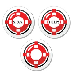 Life belt help icons set vector image vector image