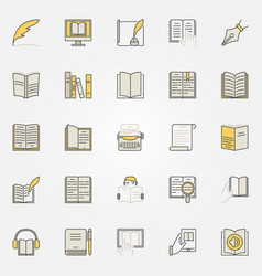 literature colorful icons set vector image vector image