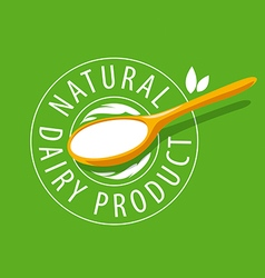 logo spoon with milk product vector image
