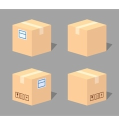 Low poly closed cardboard box vector image vector image
