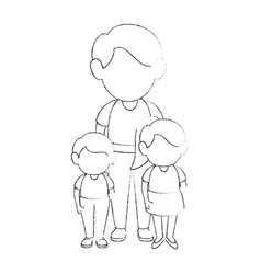 man and boys stand up vector image