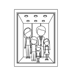 Monochrome contour with family in elevator vector