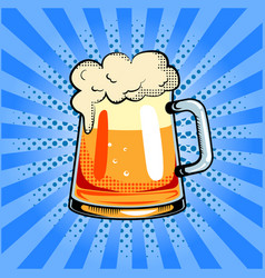 Mug of beer pop art vector