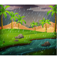 nature scene with rainy day in the field vector image vector image