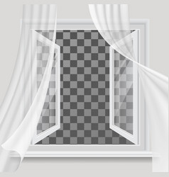 open window and waving transparent curtain vector image vector image