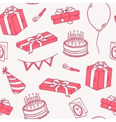 Outline style birthday party seamless pattern vector image