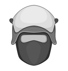 Policeman head in a face mask icon monochrome vector