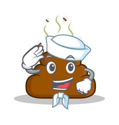 Sailor poop emoticon character cartoon vector
