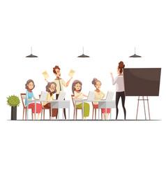Senior women classes cartoon poster vector