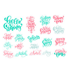 set hello spring of hand drawn quotes trendy hand vector image vector image